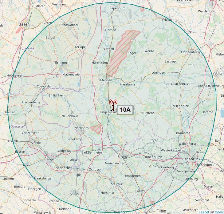 Sendegebiet DAB-Sender Lingen/Ems des NDR