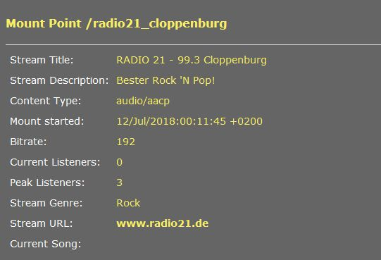 Radio 21-Streamserver